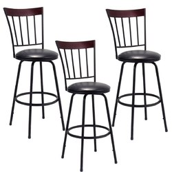 Category: Dropship Table & Bar Stools, SKU #HW55642, Title: Set of 3 Steel Frame PU Leather Swivel Bar Stools