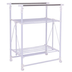 Category: Dropship Closet Organizers & Garment Racks, SKU #HW55984, Title: Folding Adjustable Rolling Clothes Rack Hanger with 2 Shelves