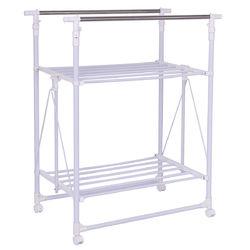 Folding Adjustable Rolling Clothes Rack Hanger with 2 Shelves