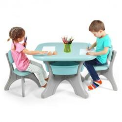 Children Kids Activity Table & Chair Set Play Furniture W/Storage-Blue - Color: Blue