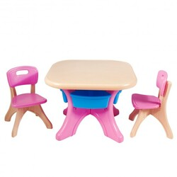 In/Outdoor 3-Piece Plastic Children Play Table & Chair Set - Color: Multicolor