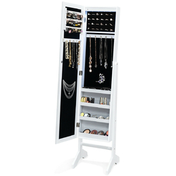 Freestanding Mirrored Jewelry Armoire Storage Cabinet with Lights