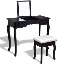 Mirrored Bathroom Dressing Vanity Table Set with Stool