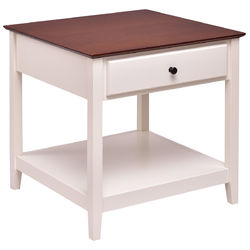 Category: Dropship End Tables, SKU #HW56281, Title: Square Wood Side End Table with Drawer and Shelf
