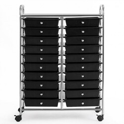 "20 Drawers Storage Rolling Cart Studio Organizer-Black - Color: Black - Size: 25"" x 15"" x 34"""