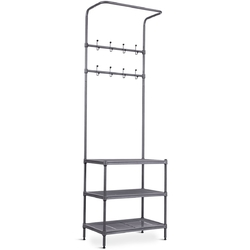 Category: Dropship Closet Organizers & Garment Racks, SKU #HW58543, Title: 3 Tier Metal Storage Shelf 16 Hooks Hat Shoes Rack