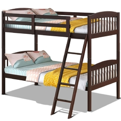 Solid Wood Twin Bunk Beds with Detachable Kids Ladder