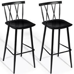 Set of 2 Steel Bar Stool Dining Chairs