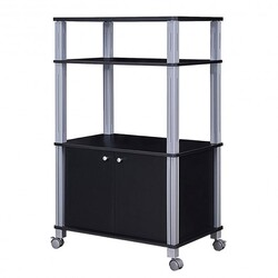 Microwave Rack Stand Rolling Storage Cart-Black