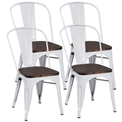 Category: Dropship Kitchen & Dining Room Chairs, SKU #HW60716, Title: 4 pcs Tolix Style Metal Dining Side Chair Stackable Wood Seat