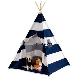 5' White & Blue Portable Indian Children Sleeping Dome Play Tent - Color: Blue
