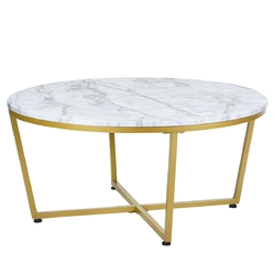 Category: Dropship Coffee Tables, SKU #HW61190, Title: Round Adjustable Coffee Table with Gold Print Metal Frame
