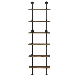 Category: Dropship Bookcases & Standing Shelves, SKU #HW61323, Title: 6-Shelf Rustic Vintage Industrial Pipe Wall Shelf