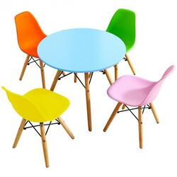 Category: Dropship Baby & Toddler Furniture Sets, SKU #HW61364-4C, Title: 5 Piece Kids Colorful Set with 4 Armless Chairs