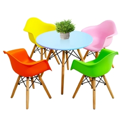 Category: Dropship Baby & Toddler Furniture Sets, SKU #HW61365-4C, Title: 5 Piece Kids Mid-Century Colorful Table Chair Set