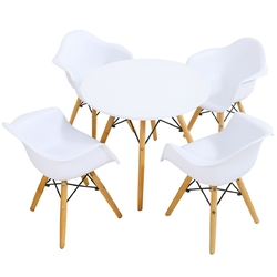 5 Piece Kids Modern Round Table Chair Set - Color: White