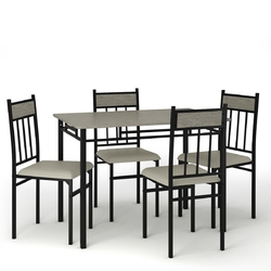 Category: Dropship Kitchen & Dining Furniture Sets, SKU #HW61424, Title: 5 Piece Faux Marble Dining Set Table