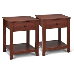 Set of 2 Night Stand End Side Table