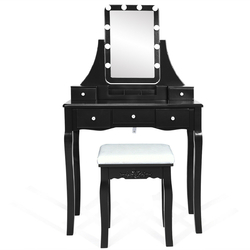 Category: Dropship Bathroom Vanities, SKU #HW62331-US, Title: Dimmable Bulbs Touch Switch Vanity Dressing Table Set with Removable Box