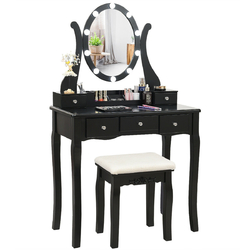 Category: Dropship Bathroom Vanities, SKU #HW62332-US, Title: Touch Switch Makeup Dressing Vanity Table Set with 10 Light Bulbs