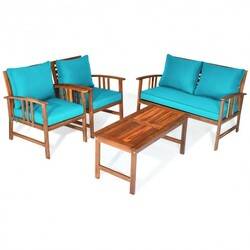 4 Pcs Wooden Patio Furniture Set Table Sofa Chair Cushioned Garden - Color: Turquoise