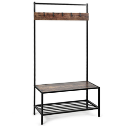 Category: Dropship Closet Organizers & Garment Racks, SKU #HW62864, Title: 3 in 1 Industrial Coat Rack with 2-tier Storage Bench and 5 Hooks