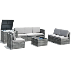 Category: Dropship Outdoor Furniture Sets, SKU #HW62884+, Title: 8 Pcs Outdoor Patio Furniture Set Rattan Wicker Sofa Set