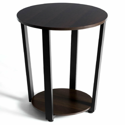 Category: Dropship End Tables, SKU #HW63074, Title: 2-tier Round End Table with Storage Shelf & Metal Frame