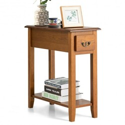 Category: Dropship End Tables, SKU #HW63091YE, Title: End Table Bedside Sofa End Table Narrow Nightstand with Wooden Legs