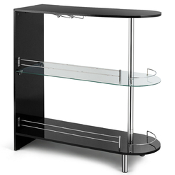 Category: Dropship Kitchen & Dining Room Tables, SKU #HW63093, Title: 2-holder Bar Table withTempered Glass Shelf