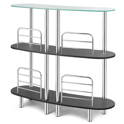 Category: Dropship Kitchen & Dining Room Tables, SKU #HW63094, Title: 3-tier Bar Cabinets Table with Tempered GlassTop