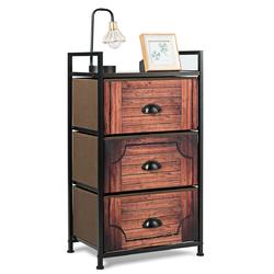 3 Drawer Fabric Dresser Storage Tower Nightstand