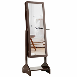 Category: Dropship Mirrors, SKU #HW63124, Title: Standing Jewelry Cabinet with Full-length Mirror