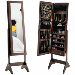 Category: Dropship Mirrors, SKU #HW63130, Title: LEDs Lockable Jewelry Cabinet with Full-Length Mirror