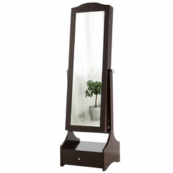 Category: Dropship Mirrors, SKU #HW63144, Title: LED Strip Jewelry Armoire with Full Length Mirror