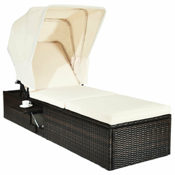 Category: Dropship Outdoor Chairs, SKU #HW63197+, Title: Chaise Cushioned Top Canopy Patio Rattan Lounge Chair with Tea Table
