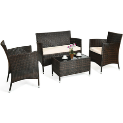 """4 Pcs Rattan Outdoor Patio Conversation Furniture Set with Glass Table and Comfortable Wicker Sectional Sofa - Color: Khaki - Size: 41"""" x 23.5"""" x 32.5"""""""
