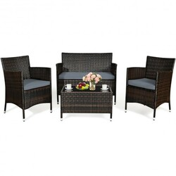 """4 Pcs Rattan Outdoor Patio Conversation Furniture Set with Glass Table and Comfortable Wicker Sectional Sofa - Color: Gray - Size: 41"""" x 23.5"""" x 32.5"""""""