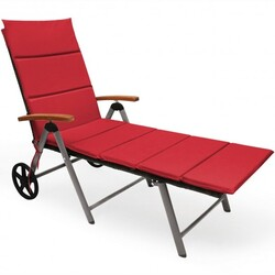 Outdoor Chaise Lounge Chair Rattan Lounger Recliner Chair-Red - Color: Red