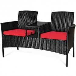 Patio Rattan Conversation Set Seat Sofa-Red - Color: Red