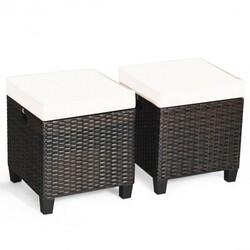 2 Pcs Patio Rattan Ottoman Cushioned Seat Foot Rest-Khaki - Color: Khaki
