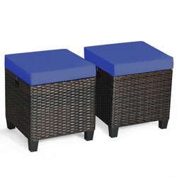 """2PCS Patio Rattan Ottoman Cushioned Seat-Navy - Color: Navy - Size: 16"""" x 16"""" x 18"""""""