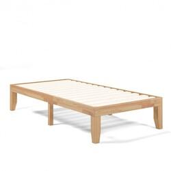 "Twin Size 14"" Wooden Slats Bed Mattress Frame-Natural"