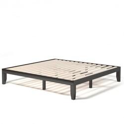 14 Inch King Size Wood Platform Bed Frame-Brown
