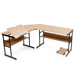 Category: Dropship Desks, SKU #HW63373, Title: L-Shaped Computer Desk Drafting Table With Tiltable Tabletop & Bookshelf