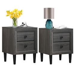 Category: Dropship End Tables, SKU #HW63404, Title: 2PCS Nightstand W/2 Drawer Multipurpose