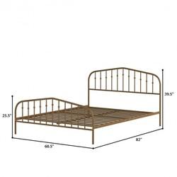Queen Size Metal Bed Frame Steel Slat Platform-Brown