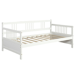 Twin Size Wooden Slats Daybed Bed with Rails-White