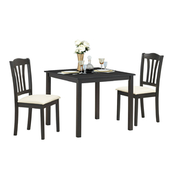 Category: Dropship Kitchen & Dining Furniture Sets, SKU #HW63528+, Title: 3 Pieces Dining Set Square Table with 2 Padded Wooden Chairs
