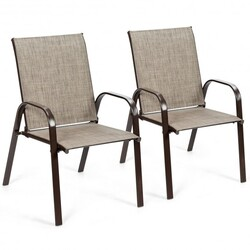2 Pcs Patio Chairs Outdoor Dining Chair with Armrest-Gray - Color: Gray